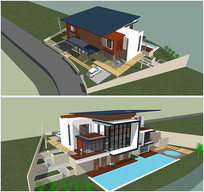 现代小别墅su模型