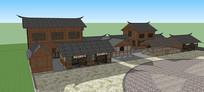 中式古建民居民宿su模型