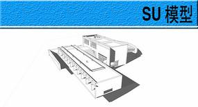 纯白集装箱建筑模型