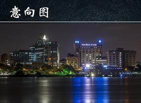 海边城市夜景图
