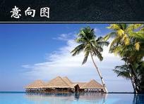 海边小木屋风景图 JPG