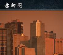 黄昏下的城市都市