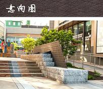 金属石材组合广场景墙