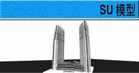两座椭圆形高层建筑模型