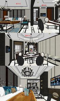 新中式室内空间su模型