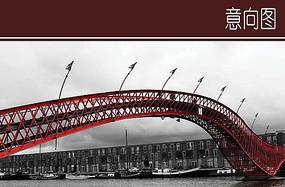 红色创意桥梁