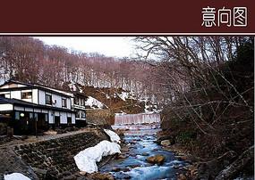 日式度假山庄叠水水景