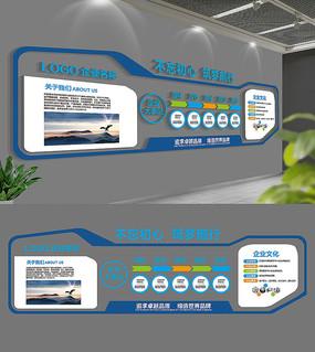 现代蓝色企业文化墙