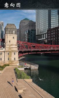 芝加哥滨河步道景观设计