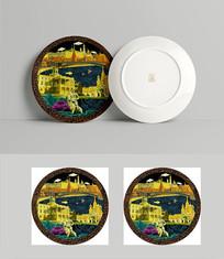 俄罗斯风情油画盘子设计