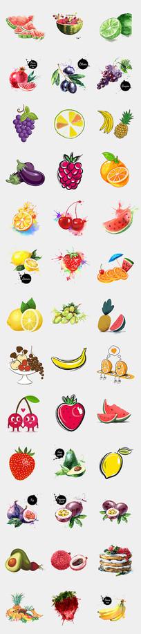 水彩手绘卡通水果果汁海报素材