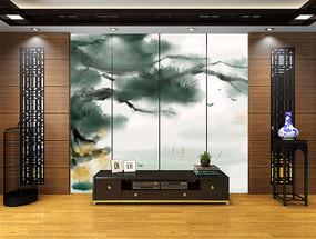 松树新中式电视背景墙