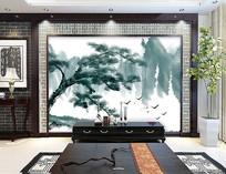 新中式松树电视背景墙