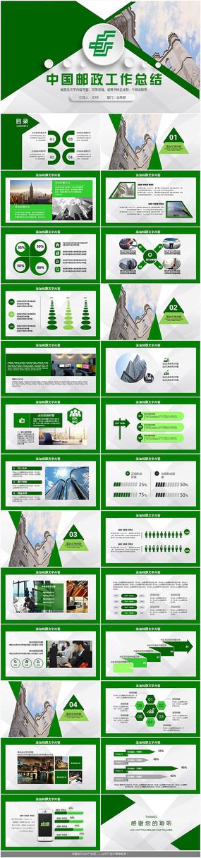 中国邮政工作总结PPT模板