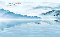 中式江山唯美电视背景墙