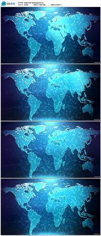 蓝色世界地图背景视频