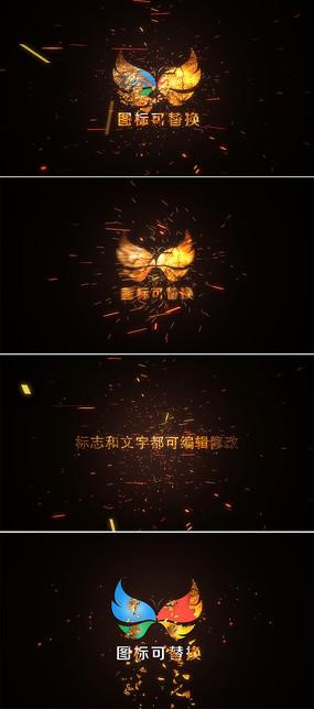 震撼火花logo标志片头模板