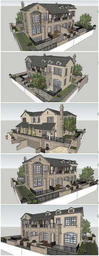 法式独栋别墅建筑SU模型