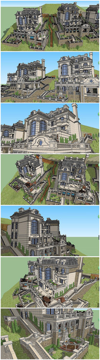 法式独栋风格别墅建筑SU模型