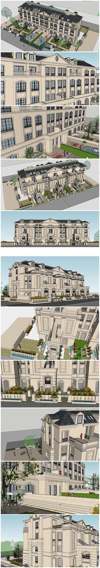 法式风格别墅建筑SU模型