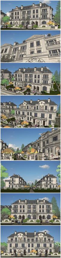 法式风格双拼别墅建筑SU模型