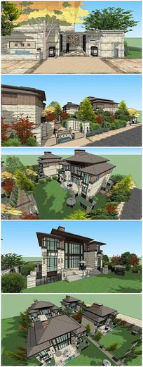 赖特草原风格别墅建筑SU模型