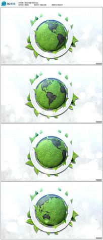 绿色旋转地球背景视频