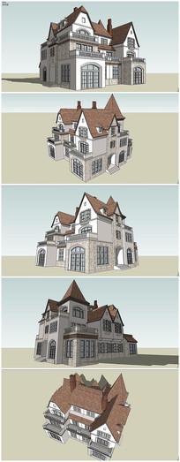 欧式风格独栋别墅建筑SU模型