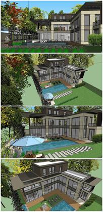 现代风格别墅建筑SU模型