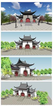 中式寺院建筑大门SU模型