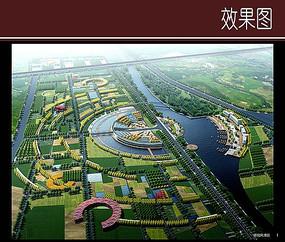 城市河道景观鸟瞰图