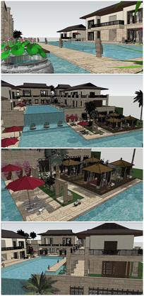法式风格度假别墅建筑SU模型