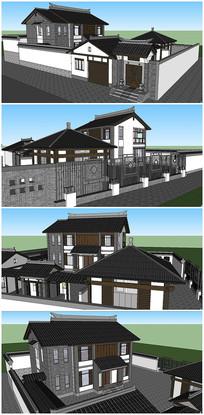 古典中式风格别墅建筑SU模型