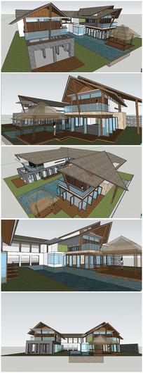 精品东南亚风格别墅SU模型