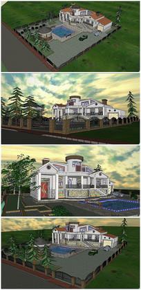 精品美式别墅带庭院SU模型