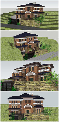 精品欧式风格别墅建筑SU模型