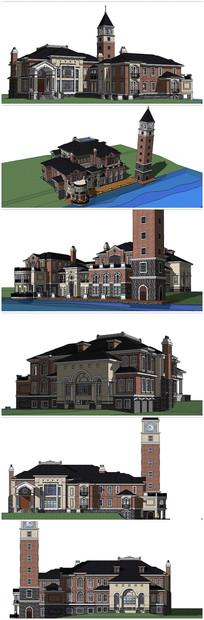 精品英式风格别墅建筑SU模型