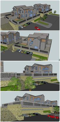 精品中式风格别墅建筑SU模型
