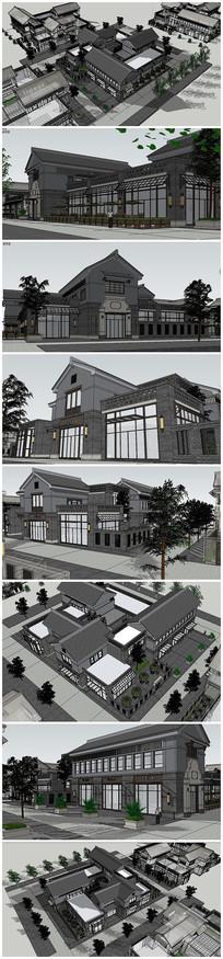 民国古典风格别墅建筑SU模型
