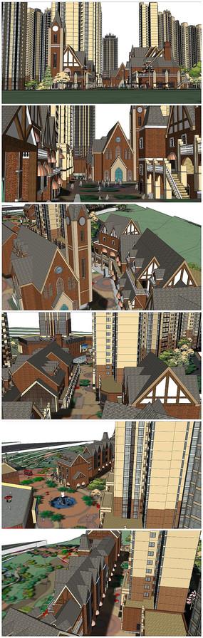 欧式风格别墅住宅建筑SU模型