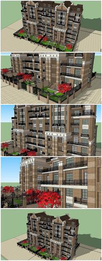 欧式风格多层建筑SU模型