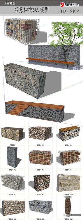 石笼墙景观