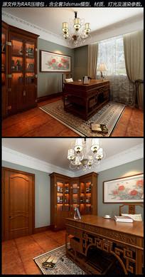书房室内场景模型