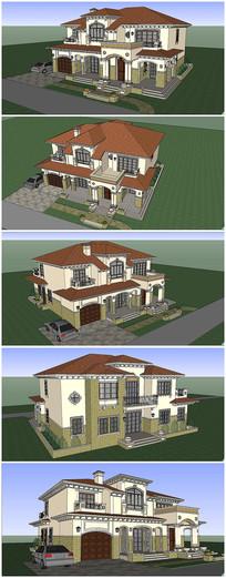 西班牙风格别墅建筑SU模型