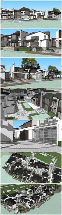 新中式风格别墅建筑SU模型
