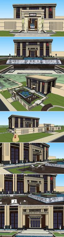 新中式会所景观设计模型
