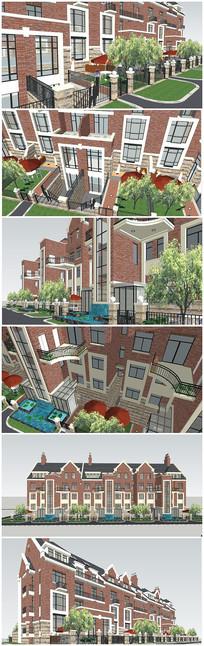 英式多层住宅别墅建筑SU模型