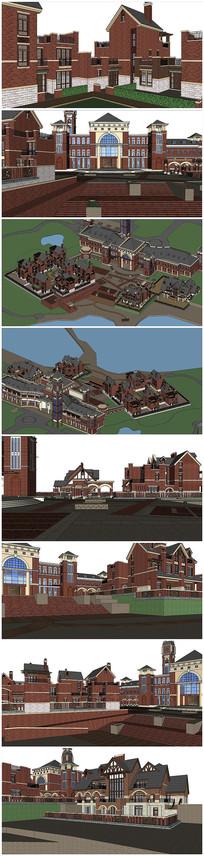 英式风格别墅住宅建筑SU模型