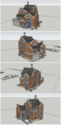 英式风格住宅别墅建筑SU模型
