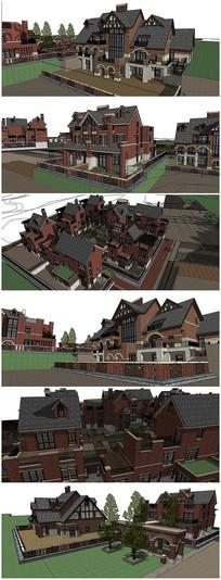英式古典风格别墅建筑SU模型